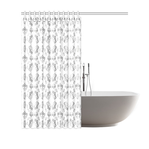 "Queen Of Hearts Silver Crown Tiara By Kristie Hubler Pattern Shower Curtain Shower Curtain 69""x70"""