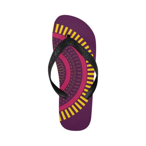 red zen mandala circle Flip Flops for Men/Women (Model 040)