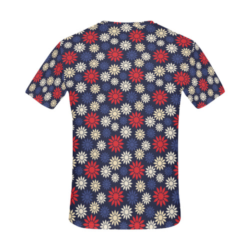 Red Symbolic Camomiles Floral All Over Print T-Shirt for Men (USA Size) (Model T40)