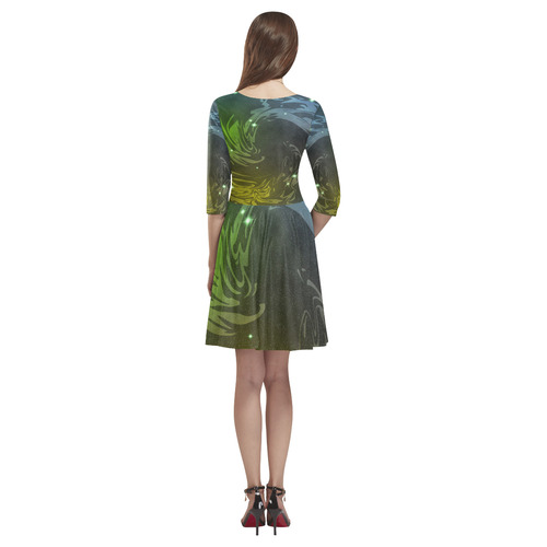 Abstract Space Tethys Half-Sleeve Skater Dress(Model D20)