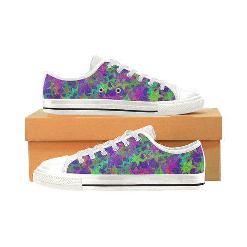 Purple Shooting Stars Low Top Canvas Shoes for Kid (Model 018)