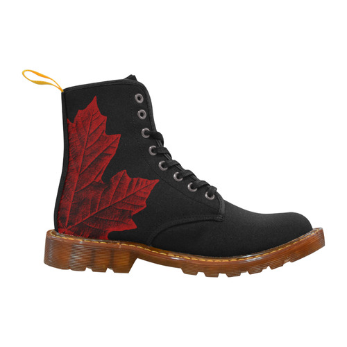 Canada Maple Leaf Boots Black Malpe Leaf Martin Boots For Women Model 1203H