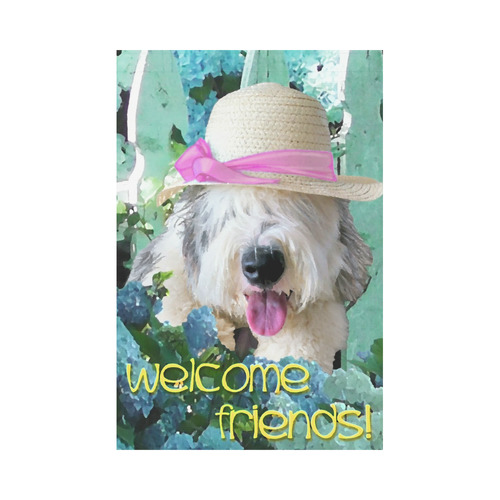 Hydrengia Garden OES Welcome Friends! Garden Flag 12''x18''(Without Flagpole)