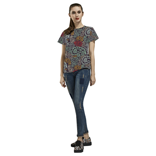 colorful paisley All Over Print T-Shirt for Women (USA Size) (Model T40)