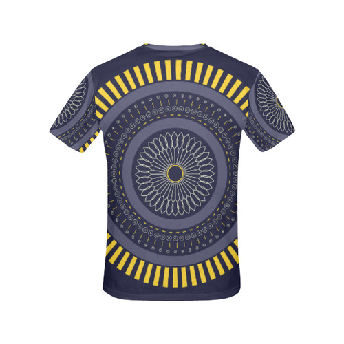 blue zen mandala circle All Over Print T-Shirt for Women (USA Size) (Model T40)