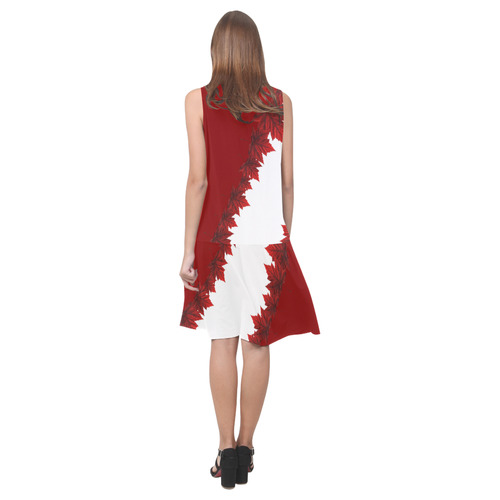 Canada Maple Leaf Dresses Canada Sundress Sleeveless Splicing Shift Dress(Model D17)
