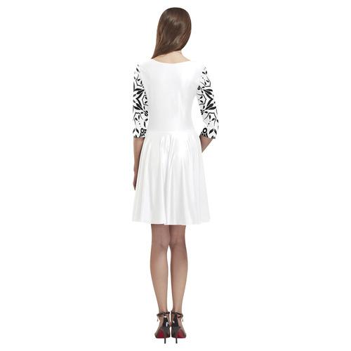 Designers luxury vintage Dress : Black mandala art Tethys Half-Sleeve Skater Dress(Model D20)