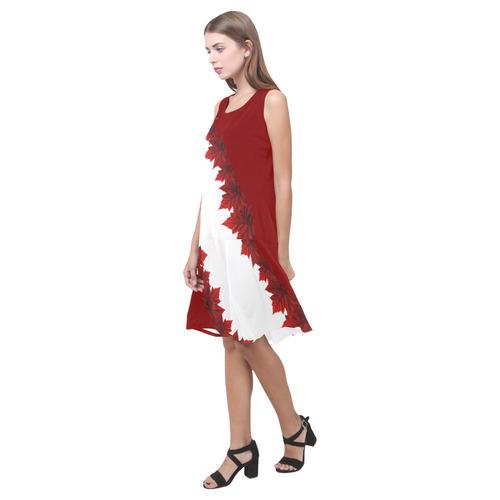 Canada Maple Leaf Dresses Canada Sundress Sleeveless Splicing Shift Dress(Model D17)