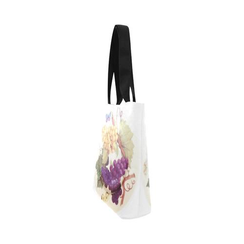 Purple Grapes Butterflies Vintage Floral Canvas Tote Bag (Model 1657)