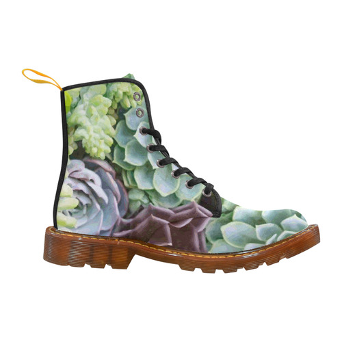 Succulents Red Green Aqua Floral Martin Boots For Women Model 1203H