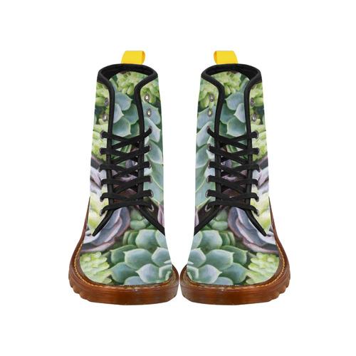 Succulents Red Green Aqua Floral Martin Boots For Women Model 1203H