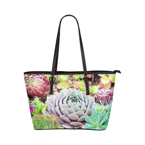 4ce6032757 Green Pink Red Floral Succulents Leather Tote Bag Large (Model 1651 ...