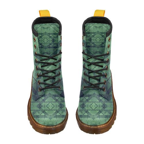 Sci-Fi Green Monster Geometric design Modern style High Grade PU Leather Martin Boots For Women Model 402H