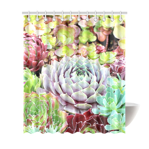 Green Pink Red Floral Succulents Shower Curtain 72x84