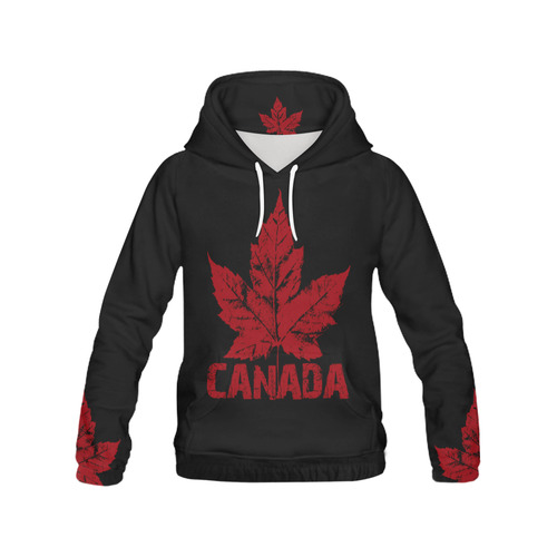 Cool Canada Hoodie Shirts Black Canada Hoodies All Over Print Hoodie for Men (USA Size) (Model H13)