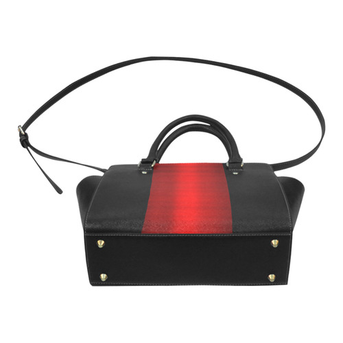 Red Metallic & Black Striped Border Classic Shoulder Handbag (Model 1653)