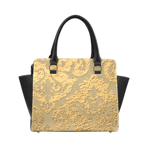 Gold Metallic Damask Print Classic Shoulder Handbag (Model 1653)