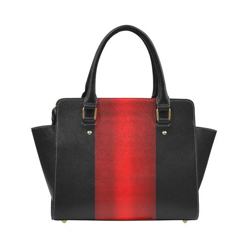 Red Metallic & Black Striped Border Classic Shoulder Handbag (Model 1653)