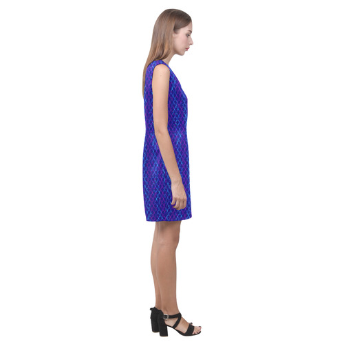 Scissor Stripes - Blue and Purple Phoebe Sleeveless V-Neck Dress (Model D09)