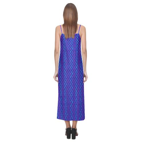 Scissor Stripes - Blue and Purple V-Neck Open Fork Long Dress(Model D18)