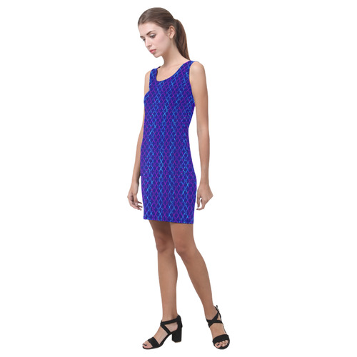 Scissor Stripes - Blue and Purple Medea Vest Dress (Model D06)