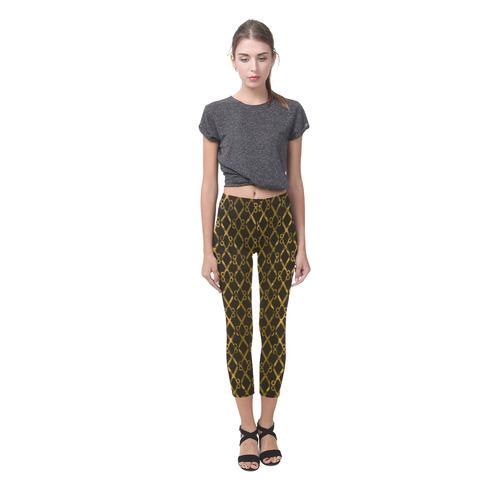 Golden Brown Scissor Stripes Capri Legging (Model L02)