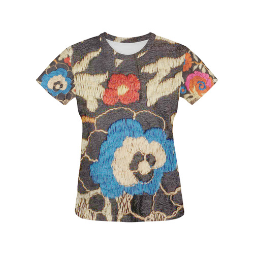 Art Deco Floral Embroidery Red Poppy All Over Print T-Shirt for Women (USA Size) (Model T40)