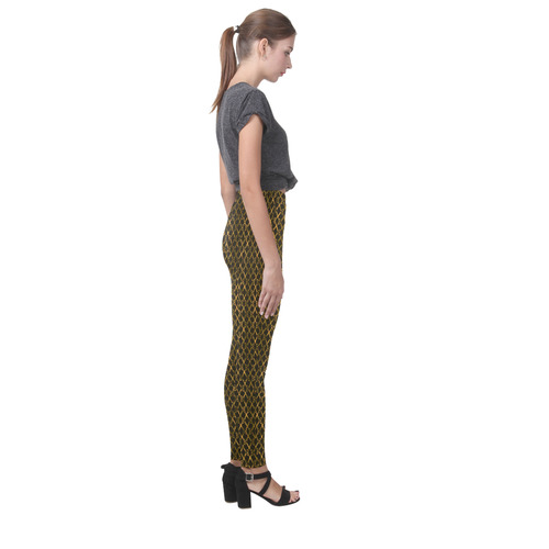 Golden Brown Scissor Stripes Cassandra Women's Leggings (Model L01)