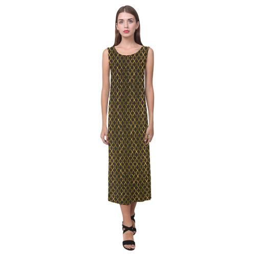 Golden Brown Scissor Stripes Phaedra Sleeveless Open Fork Long Dress (Model D08)