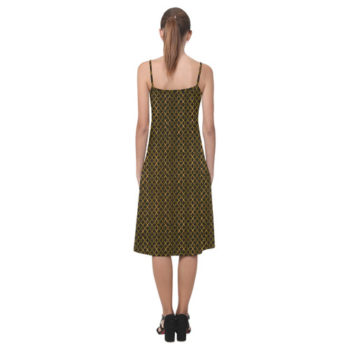 Golden Brown Scissor Stripes Alcestis Slip Dress (Model D05)