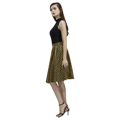 Golden Brown Scissor Stripes Melete Pleated Midi Skirt (Model D15)