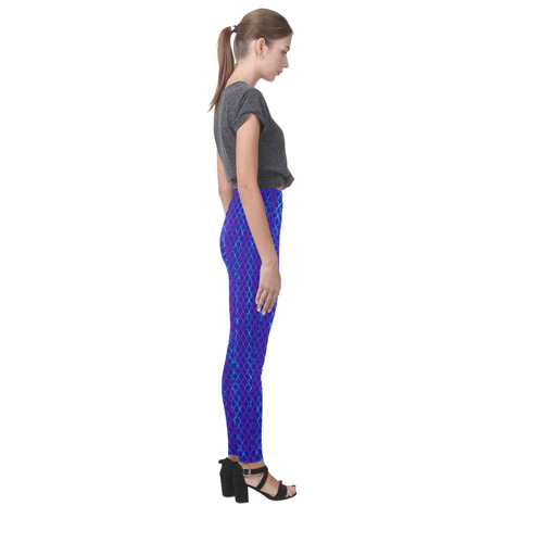 Scissor Stripes - Blue and Purple Cassandra Women's Leggings (Model L01)