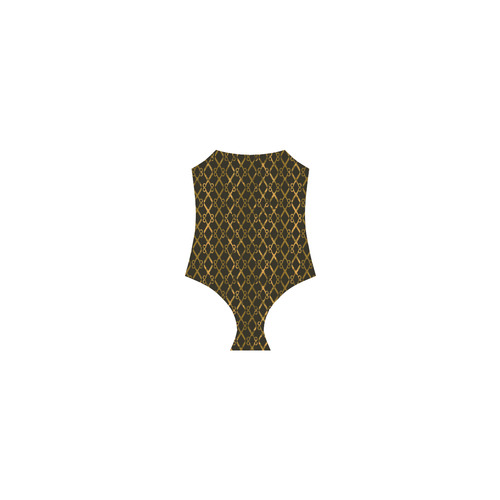 Golden Brown Scissor Stripes Strap Swimsuit ( Model S05)