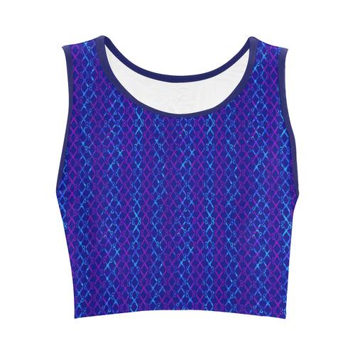Scissor Stripes - Blue and Purple Women's Crop Top (Model T42)