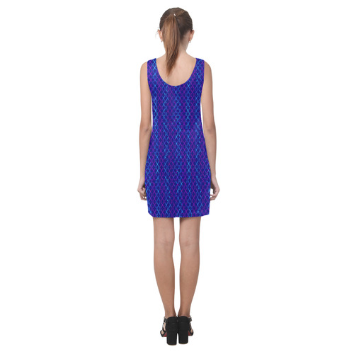 Scissor Stripes - Blue and Purple Helen Sleeveless Dress (Model D10)
