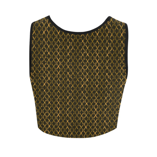 Golden Brown Scissor Stripes Women's Crop Top (Model T42)