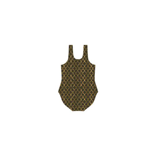 Golden Brown Scissor Stripes Vest One Piece Swimsuit (Model S04)