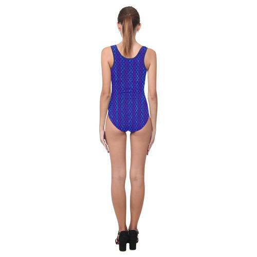 Scissor Stripes - Blue and Purple Vest One Piece Swimsuit (Model S04)
