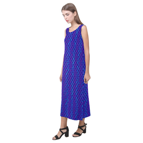 Scissor Stripes - Blue and Purple Phaedra Sleeveless Open Fork Long Dress (Model D08)
