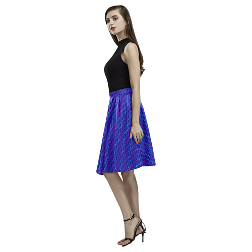 Scissor Stripes - Blue and Purple Melete Pleated Midi Skirt (Model D15)