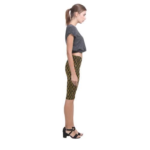 Golden Brown Scissor Stripes Hestia Cropped Leggings