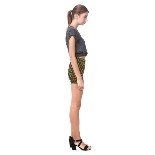 Golden Brown Scissor Stripes Briseis Skinny Shorts (Model L04)