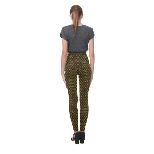 Golden Brown Scissor Stripes Cassandra Women's Leggings