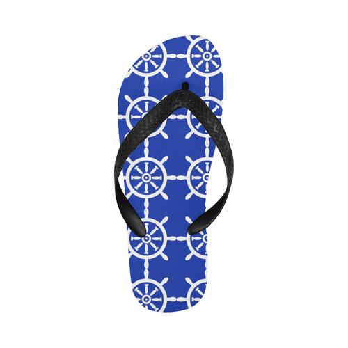 Nautical Ship Wheel Flip Flops for Men/Women (Model 040)