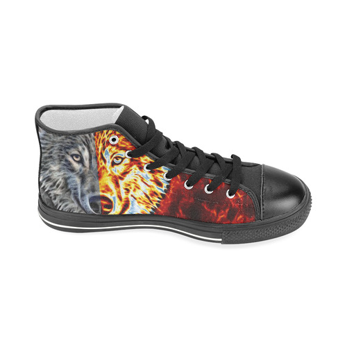 A Graceful WOLF Looks Into Your Eyes Two-colored Men's Classic High Top Canvas Shoes (Model 017)
