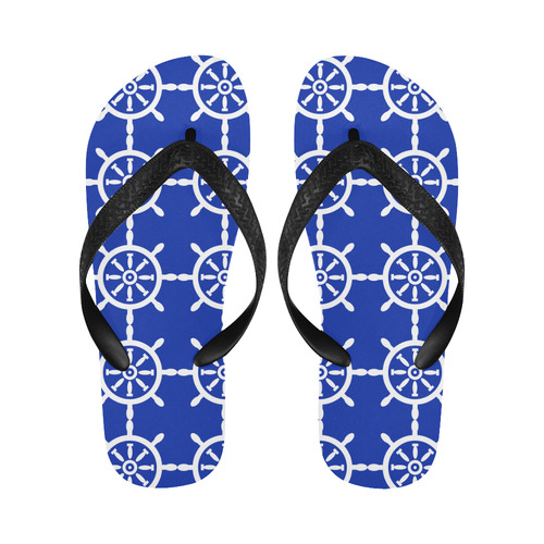 nautical flip flops navy