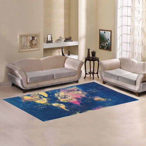 world map oceans and continents Area Rug 7'x3'3''
