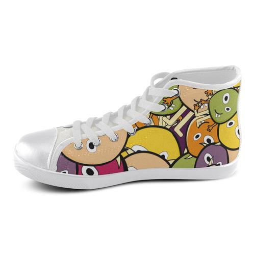 monster colorful doodle Men's High Top Canvas Shoes (Model 002)