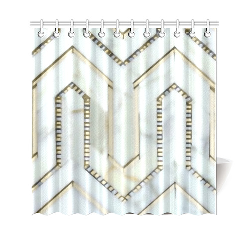 Gold Marble Art Deco Geometric Shower Curtain 69x70