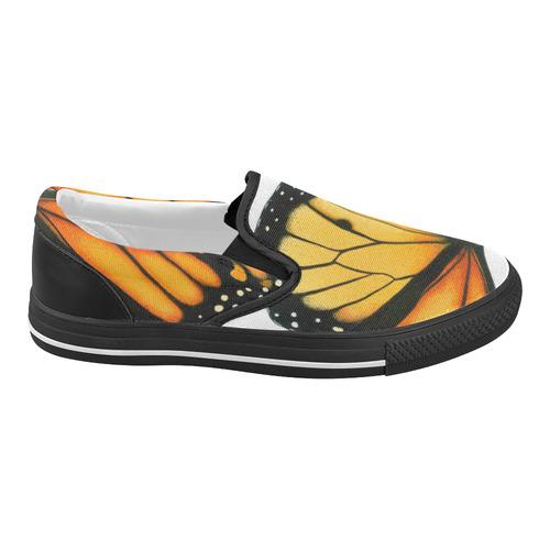White Monarch Slides Women's Slip-on Canvas Shoes (Model 019)